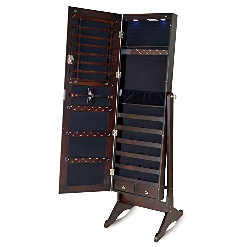 GLS Brown Free Standing Mirrored Jewelry Armoire Wood with LED light and Lock (Jewelry Armoire Chest Espresso compare prices)
