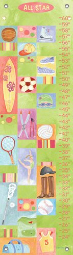 Oopsy Daisy All Star Girl by Donna Ingemanson Growth Charts, 12 by 42-Inch