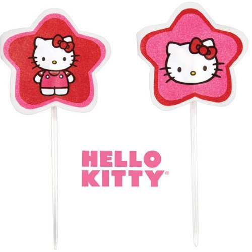 Wilton Sanrio Hello Kitty Fun Pix Red Pink Cupcakes Celebration Decoration 24 Ct