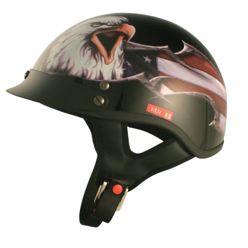 VCAN V531 Cruiser Patriotic Eagle Graphics Half Helmet (Gloss Black, Large)
