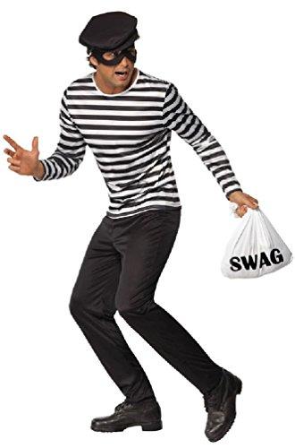 [8eighteen Bank Robber Burglar Adult Costume] (Robber Adult Costumes)