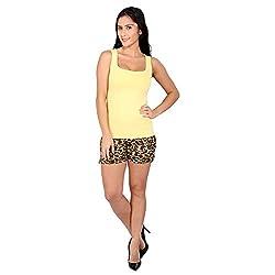 Melfon Women's Multi Coloured Animal Print Fusion Shorts (Melf009_M)