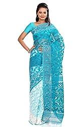 B3Fashion half-n-half traditional Pure Dhakai Handloom Silk Jamdani saree in white and Sea Green with self weave design, border and pallu with self weave and zari an elegant party wear
