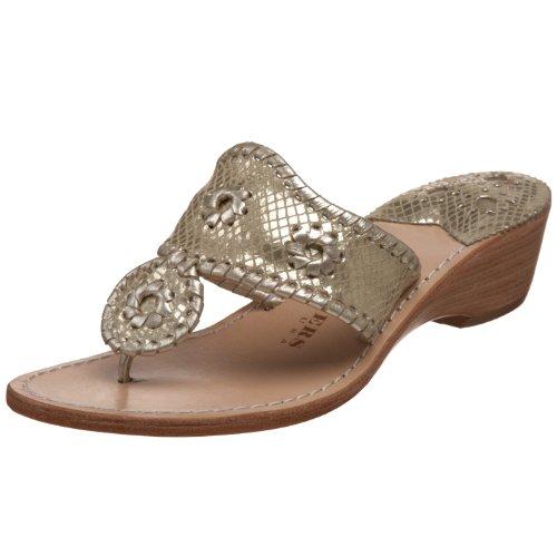 Jack Rogers Women's Sardinia Thong Sandal,Platinum Snake,6 M US