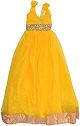 Kanchoo Girls' Long Frock (BSKF039_9-10 Years, Yellow, 9-10 Years)