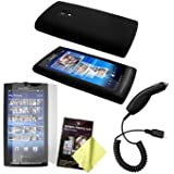 Black Silicone Case / Skin / Cover, LCD Screen Guard / Protector & Car Charger for Sony Ericsson Xperia X10