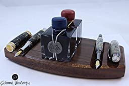 Walnut or Maple wood Fountain Pen Desk Organizer. Fits 2 J Herbin 1870 ink bottles. Great gift for yourself or for the pen enthusiast in your life.