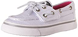 Sperry Top-Sider Bahama JR. Boat Shoe (Toddler/Little Kid), White Sparkle, 7 M US Toddler