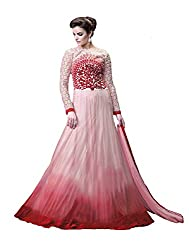 Designer Long White & Red Gown Suit