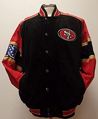 Men's NFL San Francisco 49ers Suede Full-zip/Button-up Varsity Jacket