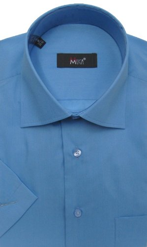 MUGA mens Shortsleeve shirts for Casual and Formal, Dark Blue, Size 5XL