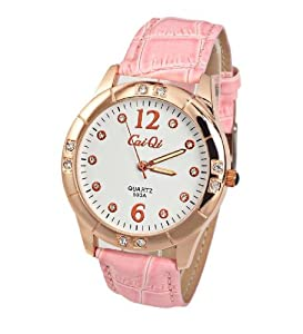 CaiQi Women Watch Pink Leather Band Wrist Watch 593A
