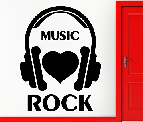Wall Stickers Vinyl Decal I Love Rock Music Cool Headphones Decor For Bedroom (Z2358)