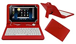 ACM PREMIUM USB KEYBOARD TABLET CASE HOLDER COVER FOR BASLATE 72S With Free MICRO USB OTG - RED