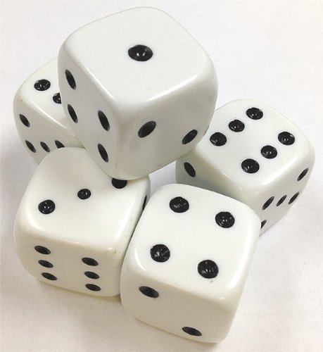 Buy Discount Set of 5 Large White Dice 25mm