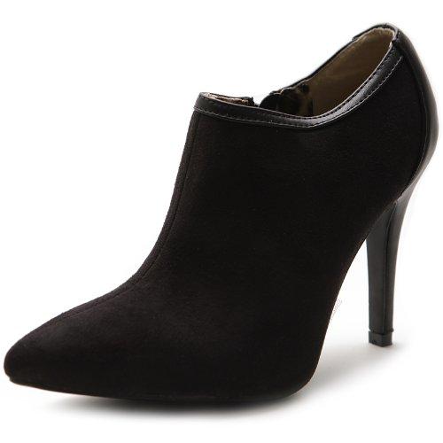Ollio Women'S High Heel Ankle Shoe Zip Faux Suede Multi Color Boot(7 B(M) Us,Black)