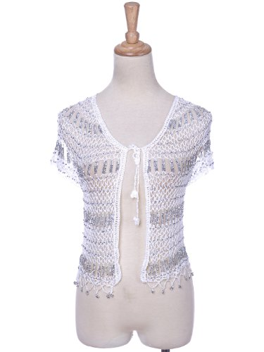 Anna-Kaci S/M Fit White Silver Loose Crochet Knit Hole Open Cardigan Shrug Shawl