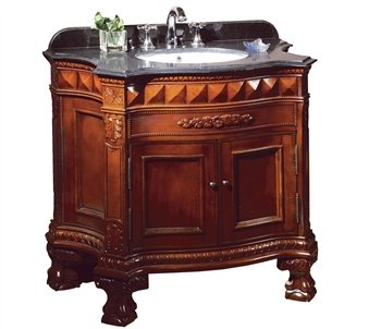 Ove Buckingham-36 Bathroom 36-Inch Vanity Ensemble With Black Granite Countertop And Ceramic Basin, Dark Cherry