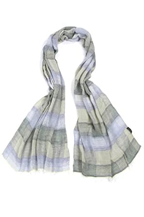 Fraas Mens Modal Lightweight Striped Check Scarf One Size Green