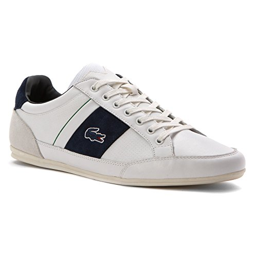 Lacoste Men's Chaymon 216 1 Fashion Sneaker, White/Navy, 10.5 M US