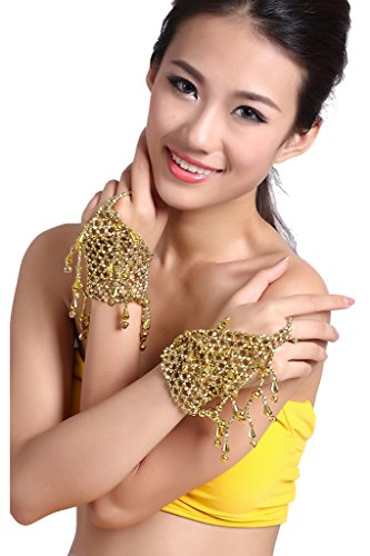 ZLTdream Belly Dance Accessories Dancing Dancing Bell+Ring Bracelets 2pcs/Set