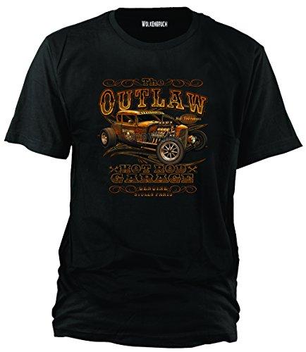 """Sputnik-Shirts - Maglietta """"Hot Rod Outlaw"""", taglie dalla S alla 5XL, Nero (nero), 4xl"""