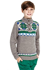 Funnel Neck Fair Isle Knitted Jumper with Wool