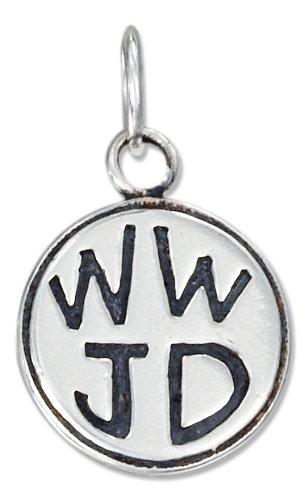 """Sterling Silver Antiqued Round """"Wwjd"""" Charm"""