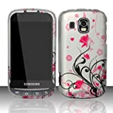 Samsung Transform Ultra M930 Accessory - Black vines & Pink Lotus Flower Design Protective Hard Case Cover for Sprint / Boost Mobile