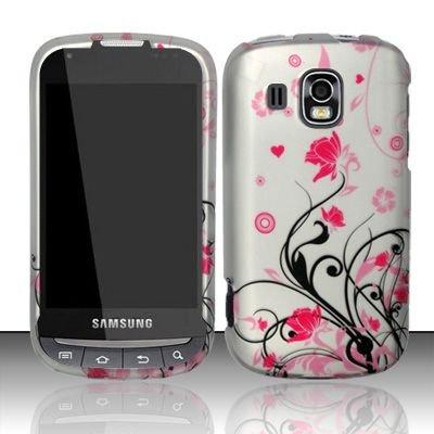 Samsung Transform Ultra M930 Accessory - Black vines & Pink Lotus Flower Design Protective Hard Case Cover for Sprint / Boost Mobile