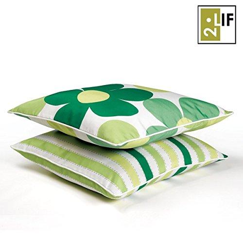 2Lif Kissen Pescara mit Streifen, grün günstig kaufen