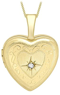 Carissima Gold 9ct Yellow Gold Small Diamond Set Etched Heart Locket on Curb Chain 46cm/18""