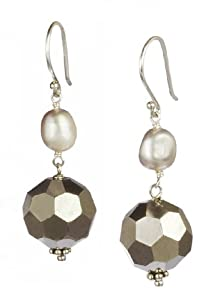 Silver Grey Freshwater Cultured Pearl and Mirrored Glass Beads Silver Fishhook Earrings