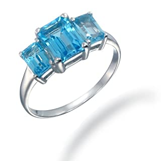 3CT 3 Stone Swiss Blue Topaz Ring In Sterling Silver In Size 6 (Available In Sizes 5 - 9)