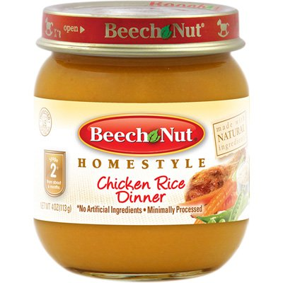 Beech Nut Stage 2 Homestyle Baby Food Chicken & Rice Dinner 4 Oz 8 Jars