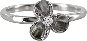 Stack Ring Co Sterling Silver Rhodium Plated Flower with Cubic Zirconia Centre Stack Ring - Size O