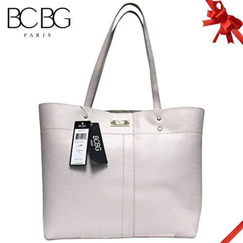 a59daf5487 Bcbg Paris Tote Textured Bag Simple Style Pure Color Pu Leather Tote  Shoulder Handbag for Women (Stone)