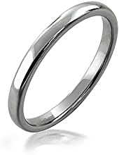 Bling Jewelry Pulimento Anillo Tungsteno Unisex 2mm Anillo de Matrimonio