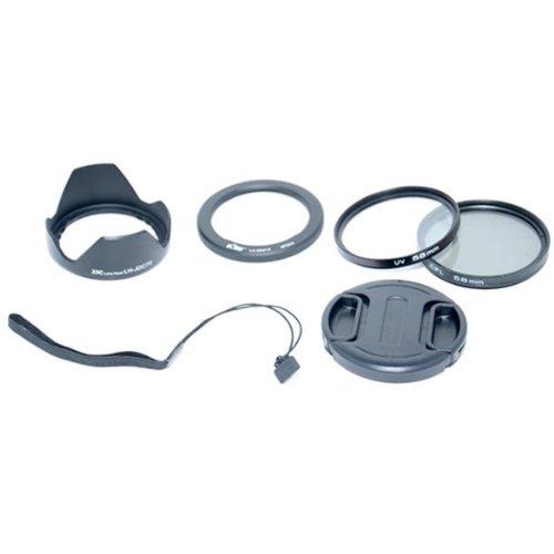 Kiwifotos Objektiv Zubehörset 6 teilig für Canon powerShot G1 X mit Objektivadapter, UV Filter, Polarisationsfilter, Gegenlichtblende, Objektivdeckel, Objektivdeckelhalter