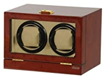 Double Watch Winder Burl Wood w/LCD Dispaly