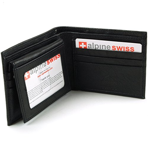 Alpine Swiss Men's 2-In-1 Bi-fold Wallet & Card Case Black
