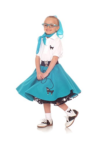 Hip Hop 50s Shop 4 Piece Child Poodle Skirt Costume Set, Size Large Teal (Grease Inspired Dress compare prices)