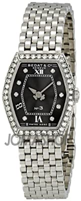 Bedat No. 3 Black Diamond Dial Stainless Steel Ladies Watch 306.051.309