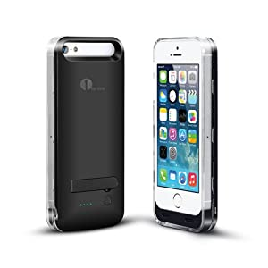 [Apple MFI Certified]1byone® Power Cover For iPhone5 & 5s. 2400mAh Charger & Case, Rechargeable & Portable Extended Life Backup Power Bank for Locked or Unlocked Iphone5 & 5s. (Compatible with Verizon, Sprint, Tmobile, AT&T Wireless).Original Apple 8Pin Connector & Battery, iOS 7+ Compatible. Black