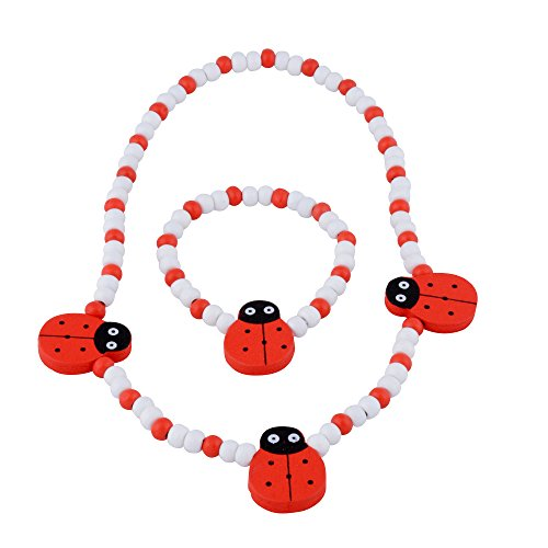Jewelry Set for Little Girls, Kids, Toddlers, Children – Red and White Stretch Necklace and Bracelet
