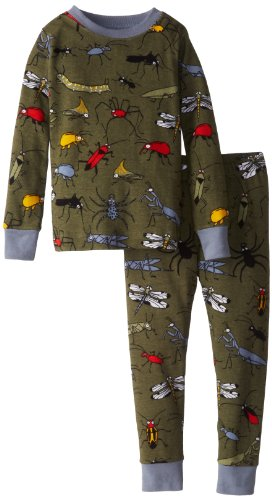Hatley Little Boys' 27 Pajama Set Fun Bugs, Green, 6 back-963990