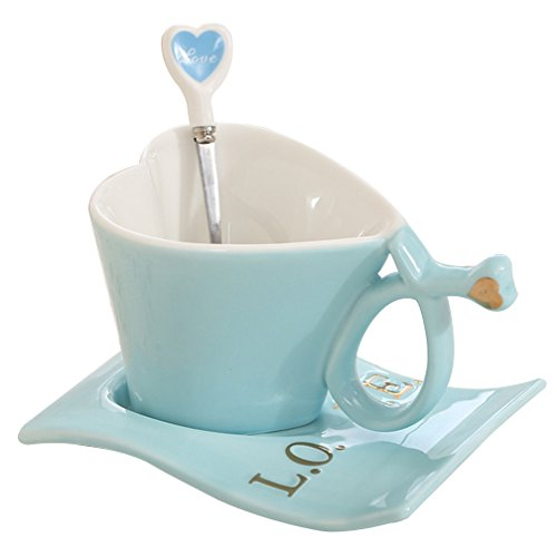 Love Heart Shape Tea Milk Coffee Water Ceramic Cup Set With Matching Spoon Valentine's Day Gift Christmas Gifts (Blue)