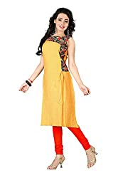 TheEmpire Casual Wear Yellow Coloured Rayon Stitched Kurti - L