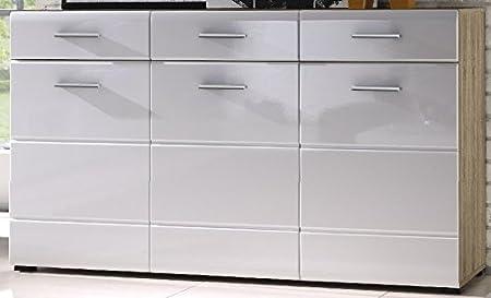 5.5.4.6.2872: schöne Schubladenkommode - Front hochglanz weiss - Korpus eiche sonoma dekor - Anrichte - Sideboard Front hochglanz weiss