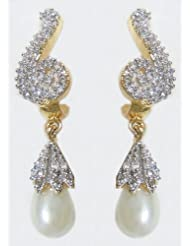 DollsofIndia White Bead With Stone Studded Dangle Earrings - Metal - White